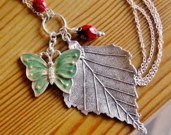 SALE - Summer charm statement necklace extra long beaded boho chic bohemian layered pendant red green chunky leaf butterfly ladybug jewelry