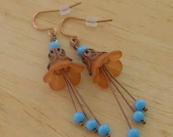 Bead Dangles Orange and Turquoise Lucite Flowers Earrings