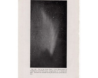 1946 COMET TRAIL LITHOGRAPH -  original vintage print - celestial astronomy print - trail of the great comet of 1910