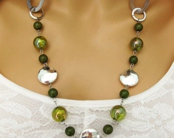Long Green Beaded Necklaces, Green and Silver Beaded Necklaces, Green Beaded Necklaces, Green and Silver Necklace, Beaded Necklaces, N844