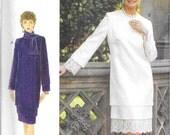 VOGUE 9123 UNCUT Size 18 20 22 Tiered Long Sleeve Ties Sheath Dress Suit OOP Pattern