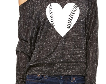 Baseball Mom Shirts. Baseball Slouchy Off Shoulder Sweatshirt. Mothers Day Gift. Baseball Girlfriend Tshirt. Baseball Heart Slouchy Shirt