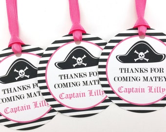 Girl Pirate Party Favor Tags, Pirate Birthday Favor Tags, Pirate Tags, Pirate Party Decorations - SET OF 12