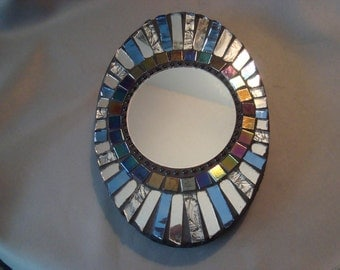 Oval MOSAIC MIRROR, Accent Mirror, Blue, Silver, Iridescent Black