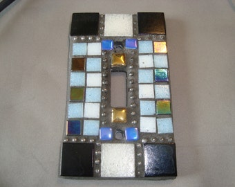 MOSAIC Light Switch Plate -  Single Switch, Wall Art, Multicolored,Blue, Black, White, Silver, Gold