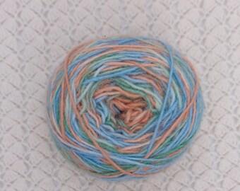 alpaca rowing rainbow yarn hand-dyed, 95 gr,  color rust, green, blue, self striped yarn,