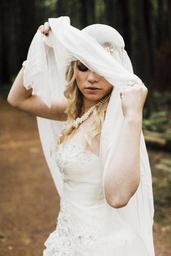 Wedding Veil, Silk Veil, Veil with Blusher, Bridal Veil