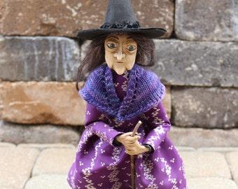 Halloween Witch OOAK art doll flying Fernguilda purple black antique Edwardian dress hand knit wool shawl handmade sculpture posable