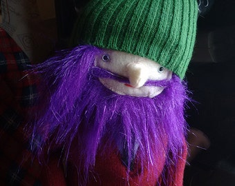 Sparkle Purple Bearded Hipster Man Doll