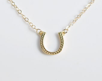 Gold horseshoe necklace, lucky horse shoe, good luck charm, equestrian, cowgirl rodeo 4H, horseback, gold necklace, simple jewelry - Rebecca