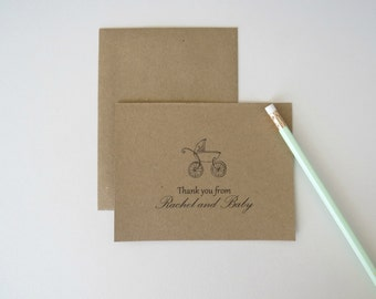 Personalized Baby Shower Thank You Card From Mom and Baby Brown Kraft Carriage Rustic Design Set of 25 with Envelopes