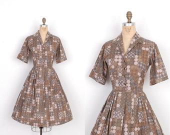 Vintage 1950s Dress / 50s Geometric Print Shirtwaist Dress / Brown and Gray (large L)