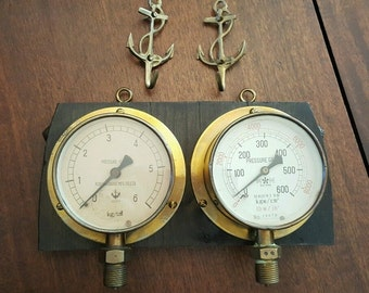 Antique Japanese PRESSURE GAUGES mounted Display Saitama & Kobata, Osaka Japan
