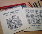 Cute & Creepy Colors, Art Coloring Book for all ages, / adults, Little Monsters, by Vandy Hall