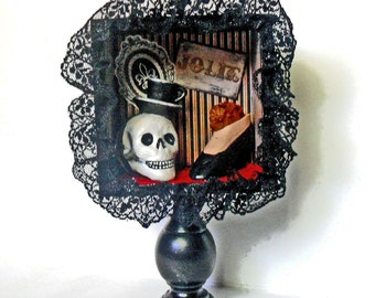 Gothic Shadow Box - Skull Art - French Gothic - Burlesque