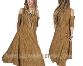 SUNHEART bohemian Hippie EVE Cold Shoulder SandDune DRESS One Size fits Sml-Med-Large-xl-1X