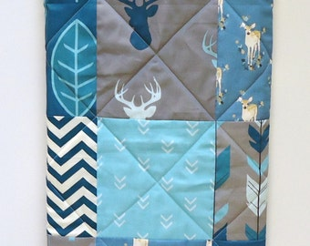 Rustic Baby Boy Quilt-Woodland Crib Bedding-Modern Patchwork Fabrics Navy-Teal-Blue-Gray-Grey-Turquoise-Buck-Antler-Arrow-Deer Baby Blanket