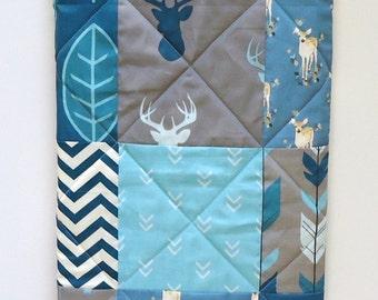 Rustic Baby Boy Quilt Woodland Crib Bedding Modern Patchwork Fabrics Navy Teal