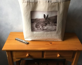 "Big Cozy Tote - Vintage Jack Rabbit Photo - Natural Canvas Tote - Shopping Bag -  More info in ""Item Details"""