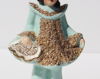 Vintage Mid Century Modern Ceramic Asian Oriental Lady Woman Turquoise  Gold Figure Statue