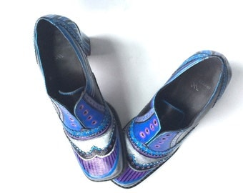 Artsy Painted Blue Shoes One of a Kind Recycled Steam Punk
