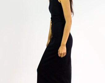 Frannie Tback long Organic Cotton Dress - Midi length underlayer / sleepwear / Layering piece - BASICS