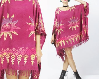 Hippie Beach Caftan Dress Ethnic Tribal Print Kaftan Dress Batik Print Tie Dye Festival Boho Fringe Hem Dress Slouchy Draped Oversize (L/XL)
