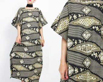 African Batik Print Dress Boho Caftan Dress Ethnic Cotton Dress Oversize Boho Kaftan Dress Muu Muu Maxi Dress Birds Floral Black Yellow (XL)
