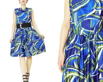 25% OFF SALE 1960s Psychedelic Dress Mod Abstract Print Blue Green Sleeveless Shift Dress Secretary Dress Blue Green Dress Cowl Neck S E388