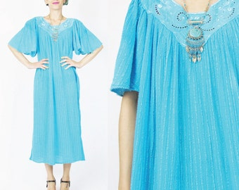 Vintage 70s Turquoise Gauze Cotton Dress Cut Work Grecian Angel Sleeves Boho Blue Floral Embroidered Dress Sheer Boxy Tunic Maxi Dress (M/L)