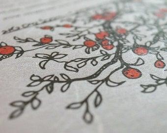 Japanese Washi Ketubah Print by Jennifer Raichman - Branch Frame with Fruit