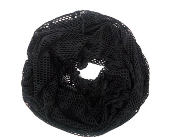 Black Infinity Scarf, Mesh Scarf, Women's Scarves, Unique Handmade Scarves, Fashion Scarves, Gifts for Women Friends, Gifts for Teen Girls