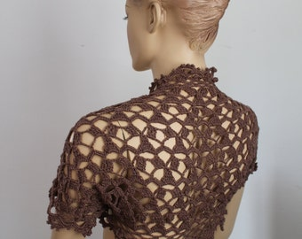 Lace Crochet  Brown   Shrug Bolero / Summer cardigan, jacket , Beach cloth -Ready to ship