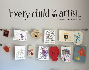 Every Child is an Artist Decal - Children Artwork Display Decal - Picasso Quote Wall Sticker