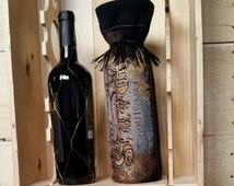 Paris gift bag for wine / Bohemian / Denim, Corduroy, and Black / One of a Kind
