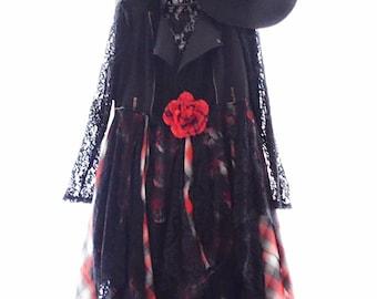 90s grunge moto jacket, Anthropologie black kimono duster, Boho fall clothing, Fall Flannel grunge Duster jacket, Boho True rebel clothing L
