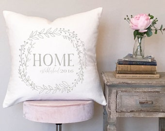Housewarming Gift New Home Gift Wedding Gift Home Choose your Move in Date White Pillow Cover