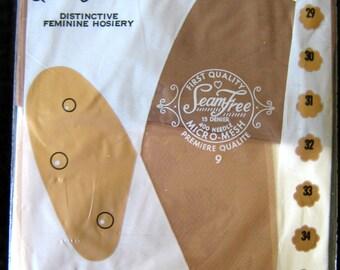 Vintage 1960s Seamless Stockings Micro Mesh 15 Denier Size 9 Length 31 NOS Nip
