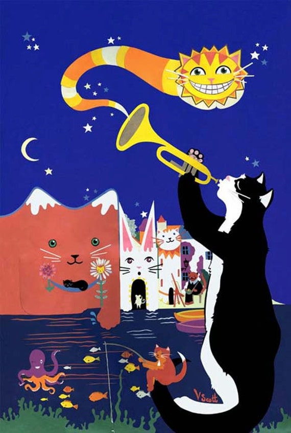 Cats of Cadaques - Limited Edition Print - Jazz Cats Art Print - Cat Illustration - Cat Art Print