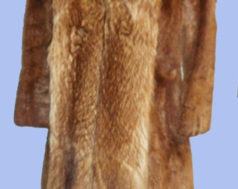 Silky Beaver Coat with Raccoon Trim from the late 70's  Excellent Condition Sz  Medium