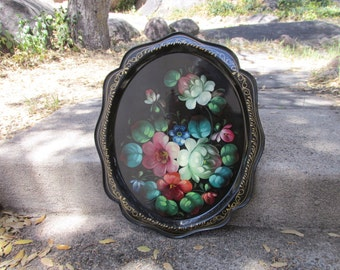 "Beautiful Vintage Soviet Russian Hand Painted Metal Tole Tray ~ 15"" x 12 1/2"" ~ Signed by Artist ~ Marked, Made in USSR ~ Decorative Tray ~"