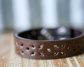 CUSTOM HANDSTAMPED CUFF - bracelet - personalized by Farmgirl Paints - dainty brown cuff with flower cutout
