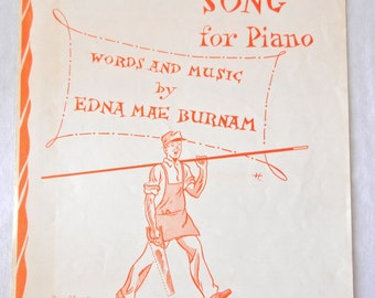 Piano Sheet Music, The Carpenter's Song, Edna Mae Burnam, Learn Piano, 1958