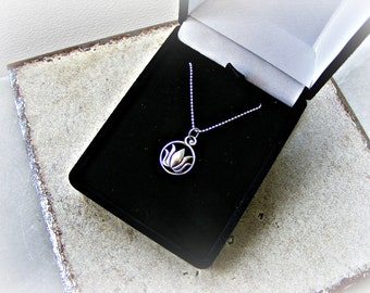 Silver lotus necklace, water lily necklace, lotus pendant, 925 silver lotus flower necklace, small sterling silver lotus ball chain necklace