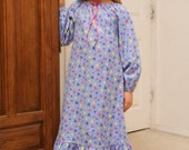 Toddler and Girls Handmade Flannel Long Sleeve Winter Peasant Style Nightgown - Multiple Sizes and Colors