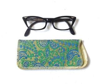 vintage 1950's NOS eyeglass case soft damacus silk lined eye glass eyewear mid century modern retro accessories accessory blue green floral