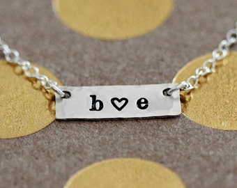 Dainty Bar Necklace, Personalized Two Initial, Tiny Couples Initials, Sterling Silver Horizontal, Girlfriend Gift