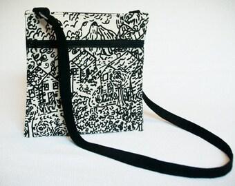 Black Cross Body Bag - Black and White Cross Body - Village Scene - Small Messenger Bag