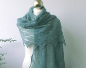Greyish Green hand knitted alpaca lace stole with nupps