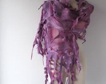 Nuno Felted scarf Ball felt scarf purple   stole  Pink nuno felted scarf Silk Wool shawl  felted shawl by Galafilc